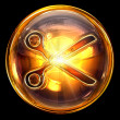 Scissors icon golden, isolated on black background - Stockfoto