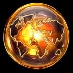 Globe icon gold, isolated on black background — Stock Photo #7257235