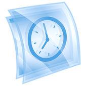 Clock icon blue, isolated on white background. — Stock Photo