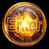Enter icon fire, isolated on black background. — Stock Photo