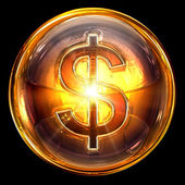 Dollar icon fire, isolated on black background. — Stock Photo