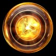 Play icon golden, isolated on black background — 图库照片