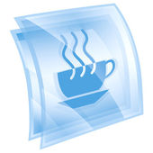 Coffee cup icon blue square, isolated on white background. — Zdjęcie stockowe