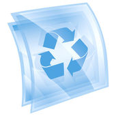 Recycling symbol icon blue square, isolated on white background. — Stock Photo