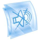 扬声器关闭图标蓝色正方形,孤立在白色背景上. — 图库照片