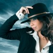 Beautiful woman in cowboy hat. — Stock Photo
