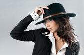 Beautiful woman in cowboy hat. — Stock Photo