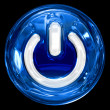 Power button blue, isolated on black background. — Foto Stock