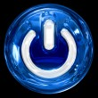 Power button blue, isolated on black background. — 图库照片