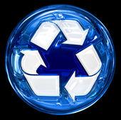 Recykling symbol ikonę niebieskiego, na białym tle na czarnym tle. — Zdjęcie stockowe