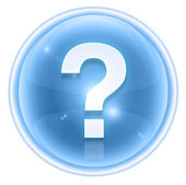 Question symbol icon ice, isolated on white background — 图库照片