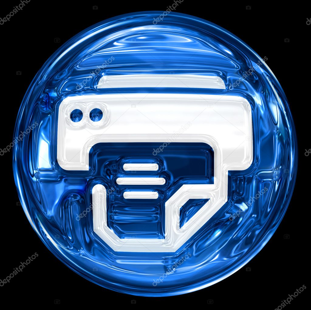 Printer icon blue, isolated on black background. — Stock Photo #7514246