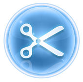 Scissors icon ice, isolated on white background. — Stock Photo