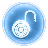 Lock on, icon ice, isolated on white background. — Stock Photo