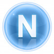 Ice font icon. Letter N, isolated on white background — ストック写真