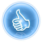 Thumb up icon ice, approval Hand Gesture, isolated on white back — Stock Photo