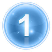 Number one icon ice, isolated on white background — Stock Photo