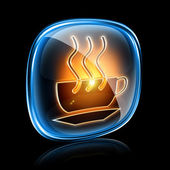 Coffee cup icon neon, isolated on black background — Stock Photo