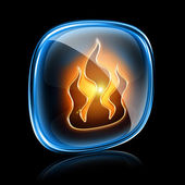 Fire icon neon, isolated on black background — Stock Photo