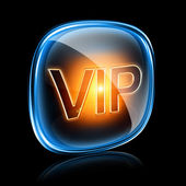 Vip icon neon, isolated on black background — Stock Photo