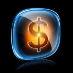 Dollar icon neon, isolated on black background. — Stock Photo