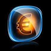 Euro icon neon, isolated on black background. — Stock Photo