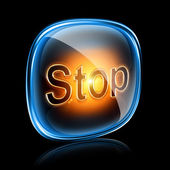 Stop icon neon, isolated on black background — Stock Photo