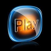 Spielen sie symbol neon, auf schwarzem hintergrund isoliert — Stockfoto