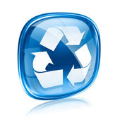 Recycling symbol icon blue glass, isolated on white background. — Stock Photo