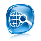 Globe and magnifier icon blue glass, isolated on white backgroun — Stock Photo
