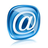 Email icon blue glass, isolated on white background. — Stock Photo