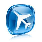 Informacje ikonę niebieskiego szkła, na białym tle. — Zdjęcie stockowe
