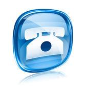 Telefon symbol blau glas, isoliert auf weißem hintergrund. — Stockfoto