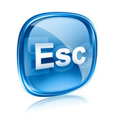Esc icon blue glass, isolated on white background — Stock Photo