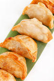 Plate of potstickers — Stock Photo