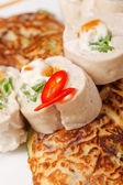 Vegetable pancakes with chicken fillet — ストック写真