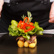 Royalty-Free Stock Photo: Professional chef garnish tasty dish