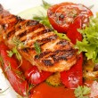 Salmon steak with vegetables — Stock Photo