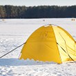Touristic tent in a winter plain — Foto de Stock