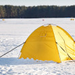 Touristic tent in a winter plain — Stock Photo