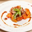 Portion of sesame chicken served on white plate — Stok Fotoğraf #6969813