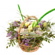Beautiful flowers in a basket - Stok fotoğraf