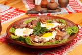 Sausage and eggs for breakfast — Stockfoto