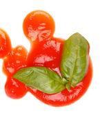 Ketchup and basil — Stock Photo