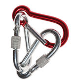 Carabiner isolated over white — Stock Photo