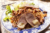 Uzbek national dish - plov with horse meat — Stock Photo