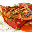 Salmon steak with vegetables — Stock Photo #6971893