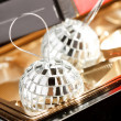 Silver balls in the box - Stock Photo