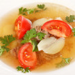 Vegetable soup with beef — Stock Photo