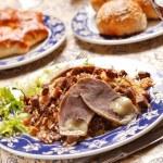 Uzbek national dish - plov with horse meat — Stock Photo #6975591